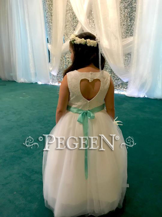 White lace flower girl dress with Heart Shaped Back
