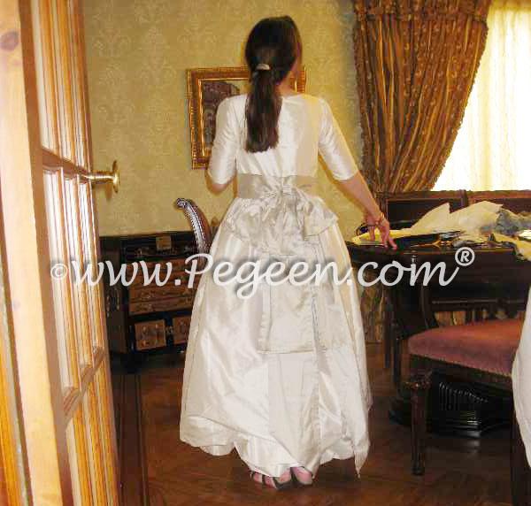 Ivory and white flower girl dress