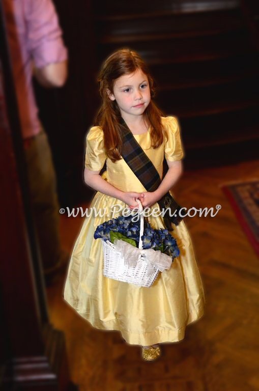 Wedding of the Month - Flower Girl Dresses For a Heritage Wedding in Dandelion and Scottish Clan Print