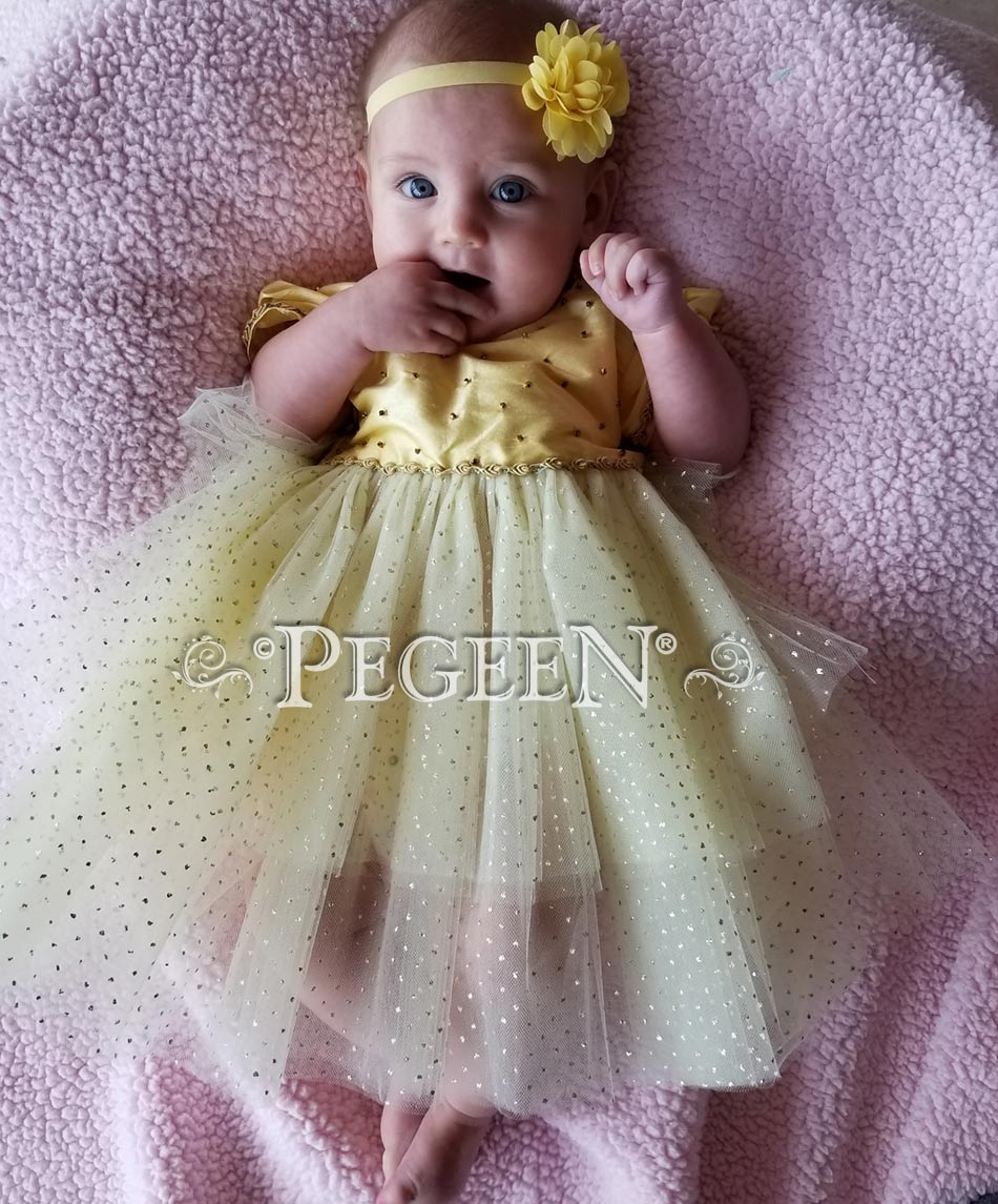 Belle's Beauty and the Beast inspired silk flower girl dress
