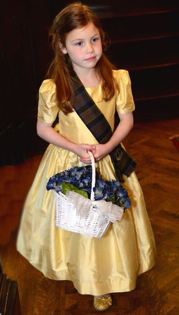 Dandilion yellow custom silk flower girl dresses with tartan plaid