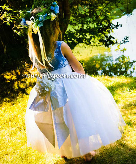 New Ivory and Delft Blue Flower Girl Dresses with layers of tulle and Beaded Aloncon Lace