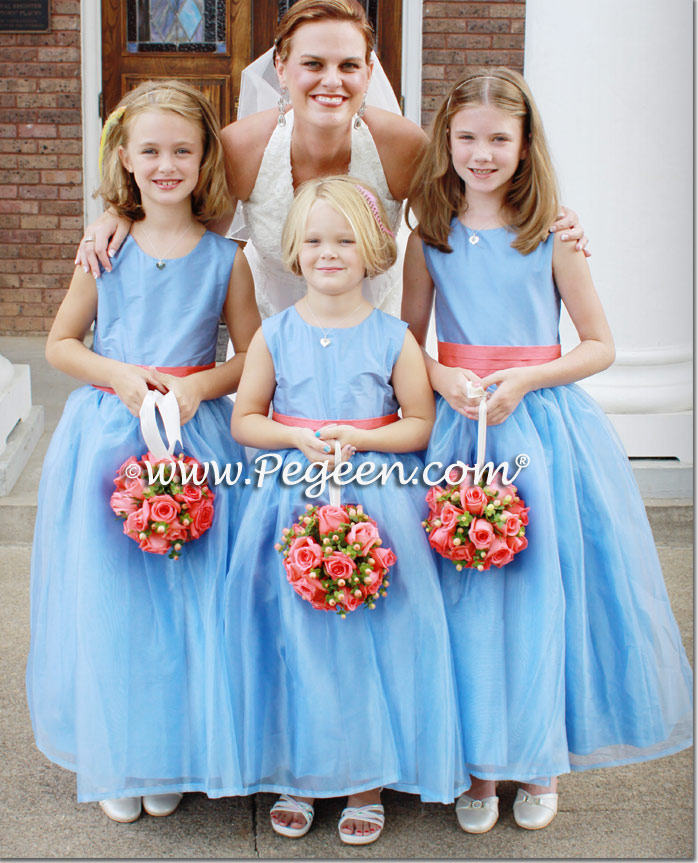 Blue Moon and Melon Silk Flower Girl Dresses Style 394