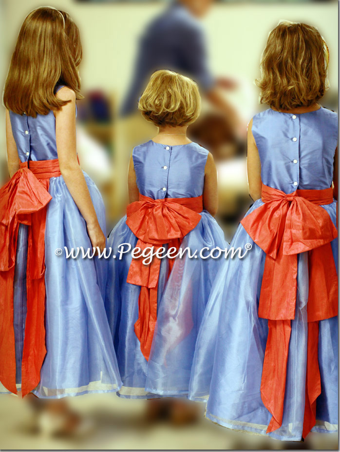 Melon (Dark Peach or Orange) and Blue Moon Silk Flower Girl Dresses Style 394