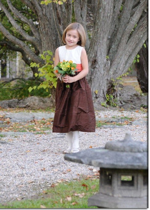 Chocolate Brown and Mango Orange Custom Silk Flower Girl Dresses - Style 398