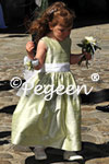 Spring Green and Anique White Silk flower girl dress from Wedding in Fanano, Italy