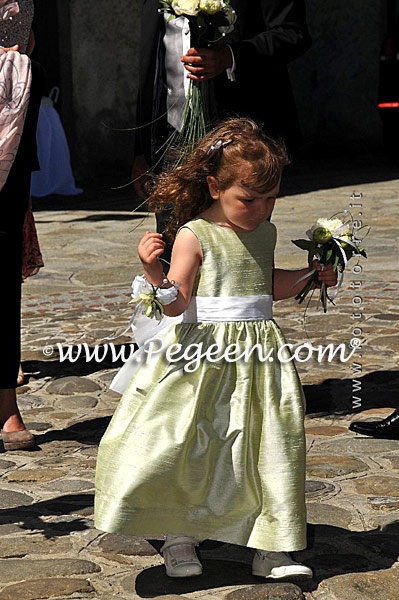 Flower girl dresses Style 398 Antique white and Spring Green | Pegeen