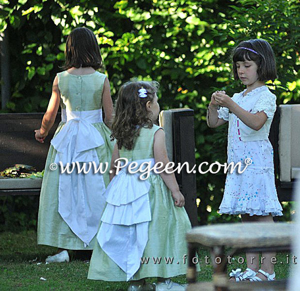 Summer Green and Antique White Flower Girl Dresses Style 345