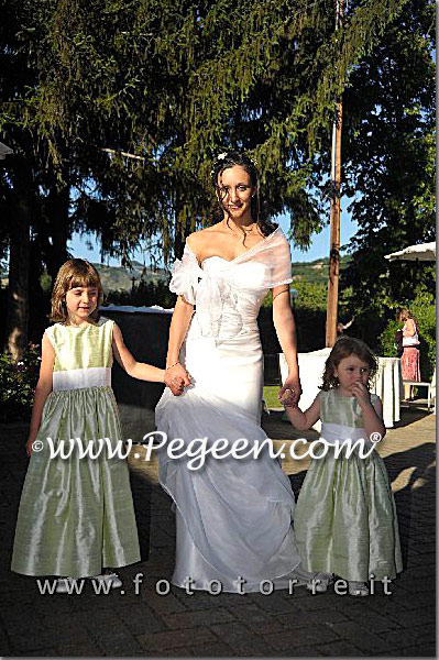 Flower girl dresses in Spring Green with Antique White Silk Cinderella Bow style 345