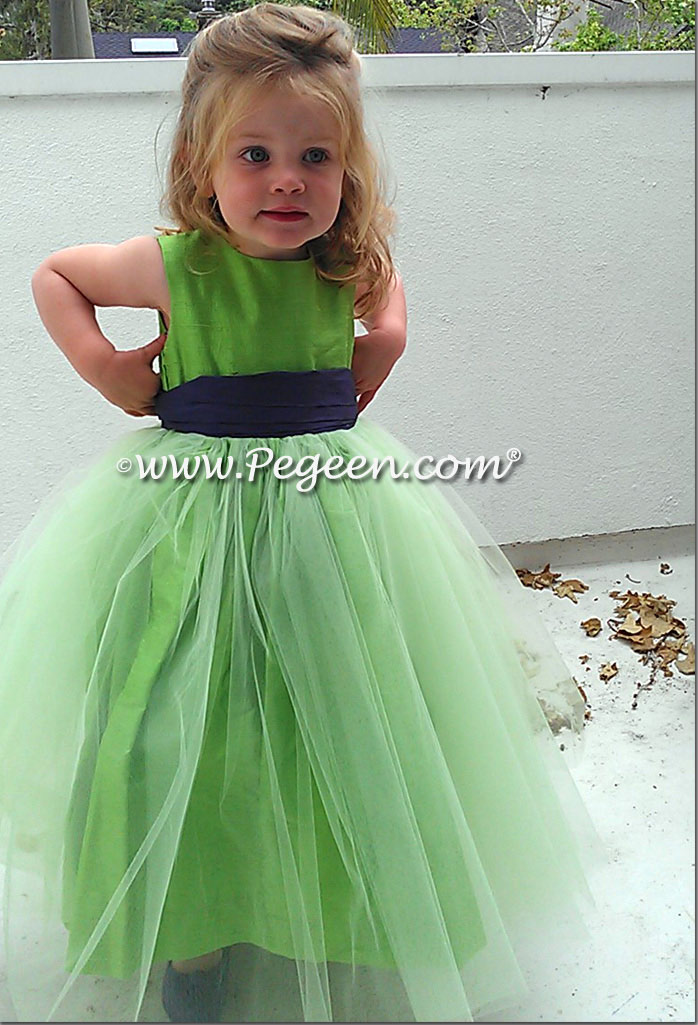 Jasmine green silk and tulle flower girl dresses