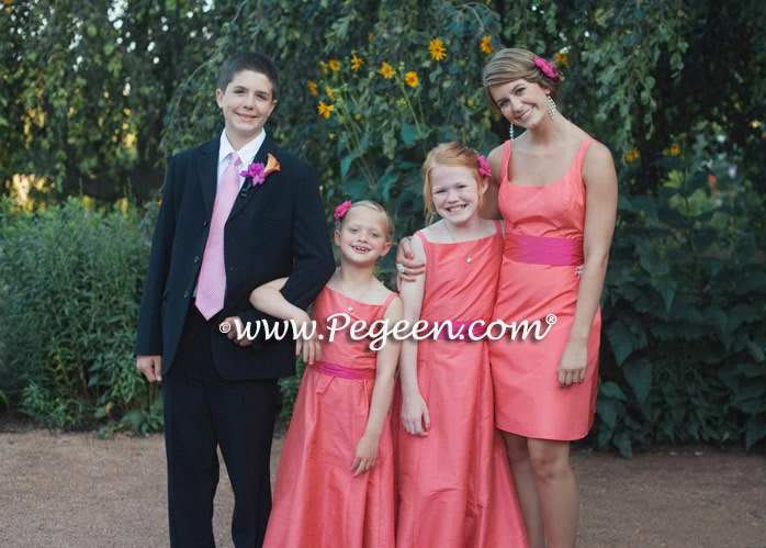 Jr Bridesmaids Dress in Melon and Sorbet