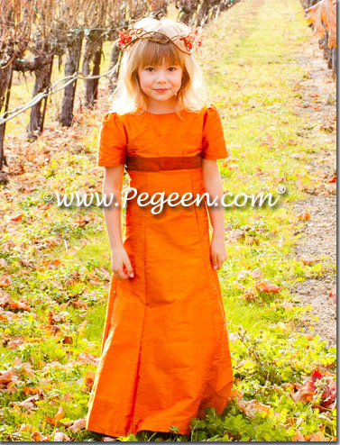 Pumpkin Orange and Cranberry Custom Silk Jr. Bridesmaids Dresses - Pegeen Classics Style 305