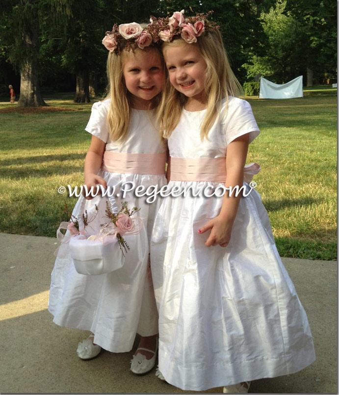 Custom white and Peony pink silk Flower Girl Dresses - Pegeen Classic Style 398