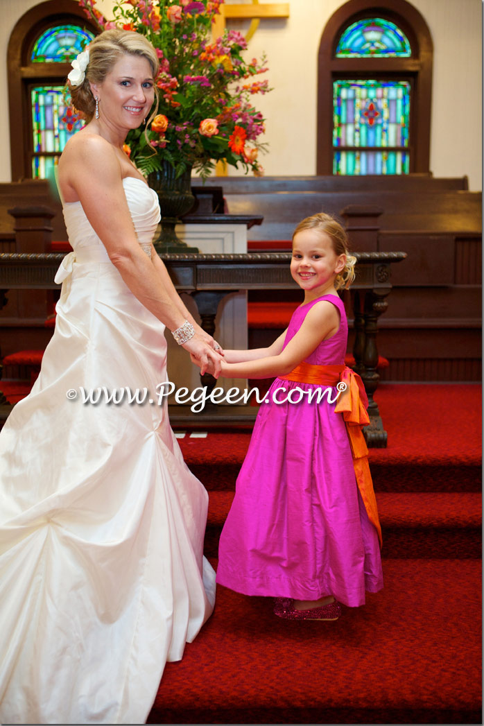 Fuschia and Mango Custom Flower Girl Dresses