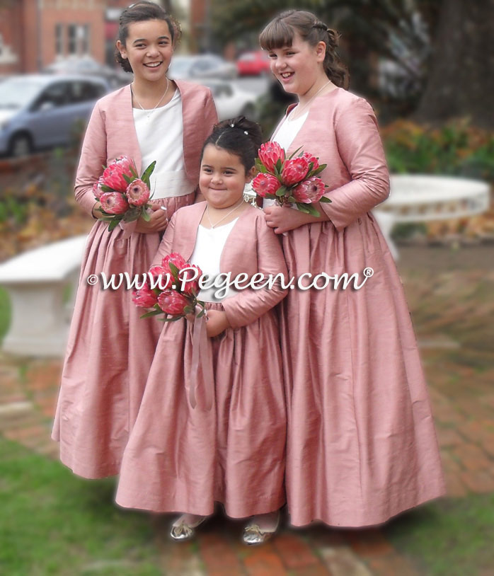 4cc7de812d Rum Pink and Ivory Plus Size Silk Flower Girl Dresses with Bolero Jacket