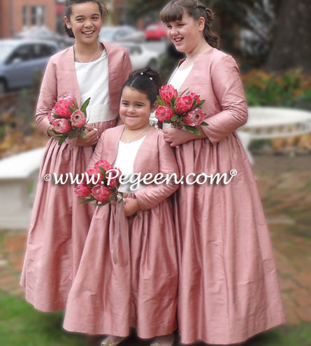 Rum Pink and Ivory Plus Size Silk Flower Girl Dresses with Bolero Jacket