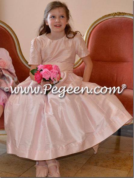 Champagne Pink silk FLOWER GIRL DRESSES