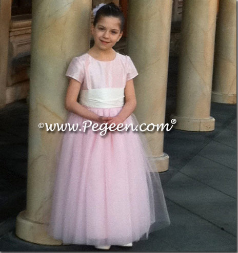 Flower Girl Dress in Petal Pink and New Ivory and layers of tulle - Pegeen Couture Style 402