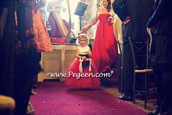 Christmas red and black and white silk and tulle flower girl dress style 402