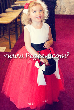 Red silk and tulle flower girl dress