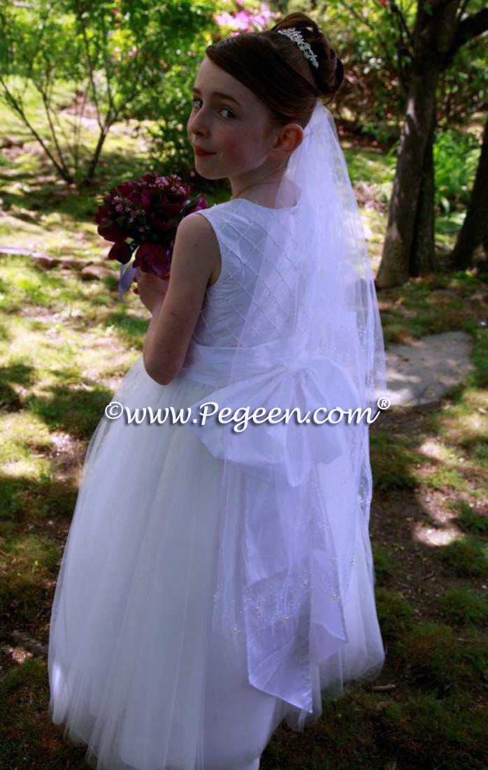 White Silk First Communion Dress by Pegeen.com