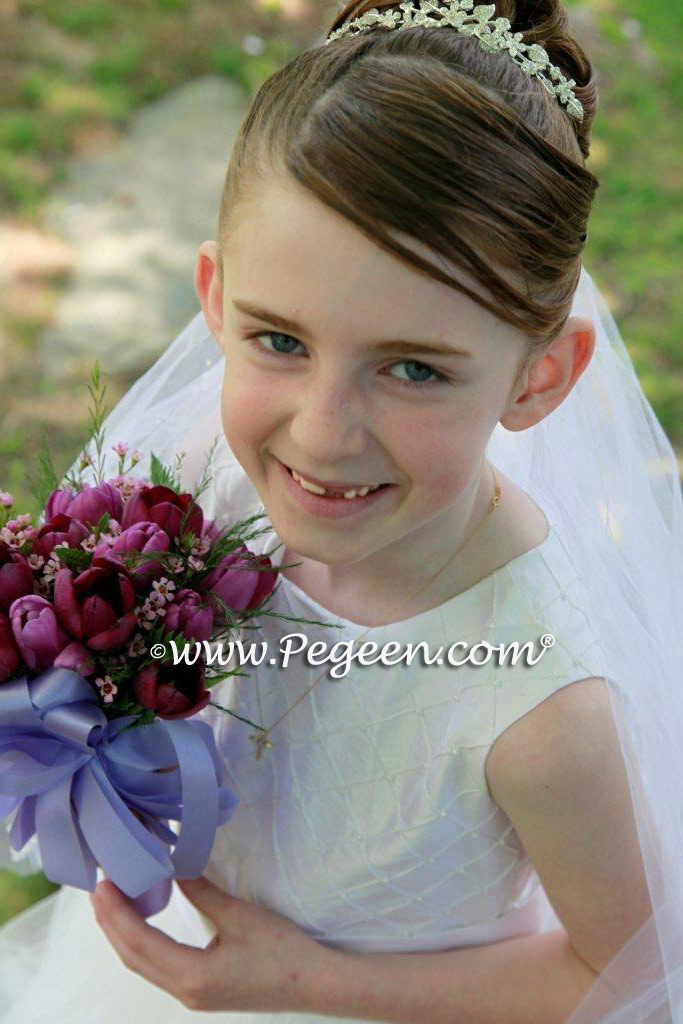 Monogrammed First Communion Dress with Pintucks and Pearls Style 409 flower girl dresses