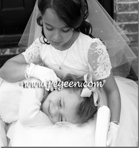 Aloncon, Tulle and Silk White First Communion Dresses - Pegeen Couture Style 965