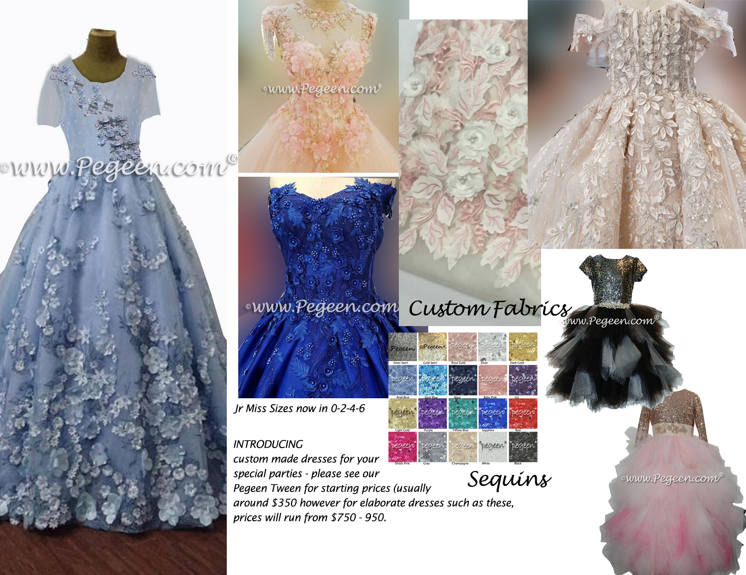 Juniors and Pegeen Tween, Bat Mitzvah, Special Occasion,  Flower Girl Dresses