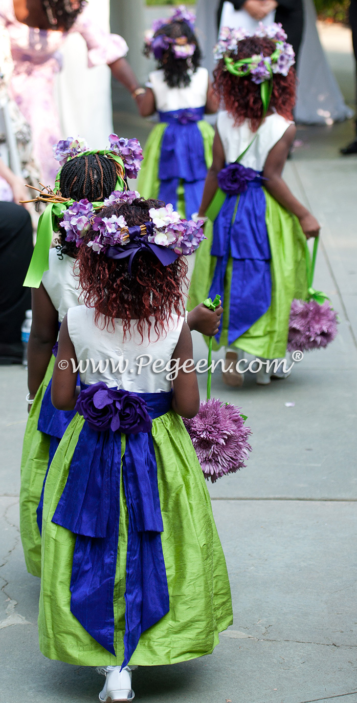 Keylime green and royal purple silk flower girl dress