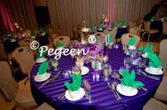 Green and purple flower girl dresses