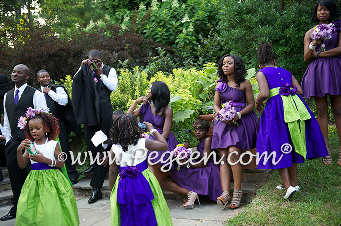 Purple and Green silk flower girl dresses
