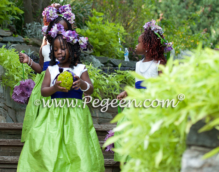 Purple and Green Flower Girl Dresses