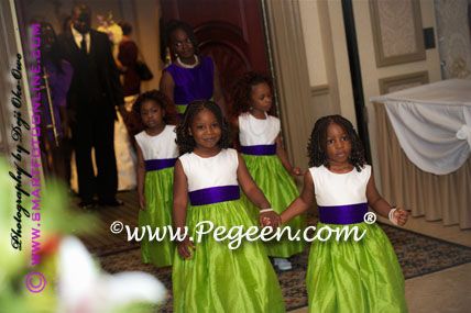 Flower Girl Dress in Royal purple and apple green - Style 383| Pegeen