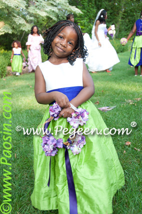 royal purple orange and apple green flower girl dresses
