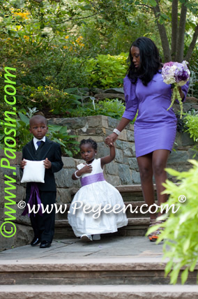 Purple and Green flower girl dresses with back flowers