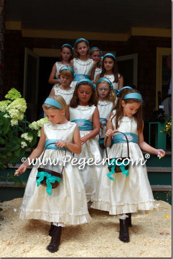 Bisque creme and adriatic aqua Blue Flower Girl Dresses