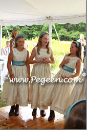 Bisque creme and adriatic aqua Blue flower girl dresses with pin tuck silk bodice and back flowers Flowers