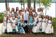 Bisque creme and adriatic aqua Blue silk flower girl dresses with trellis top