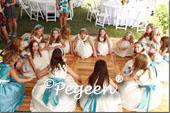 Bisque creme and adriatic aqua Blue junior bridesmaids dresses
