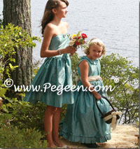 Bisque creme and adriatic aqua Blue silk flower girl dresses with trellis top