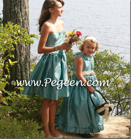 Bisque creme and adriatic aqua Blue silk flower girl dresses