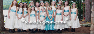 Junior Bridesmaids Dresses in Creme and Aqua by Pegeen