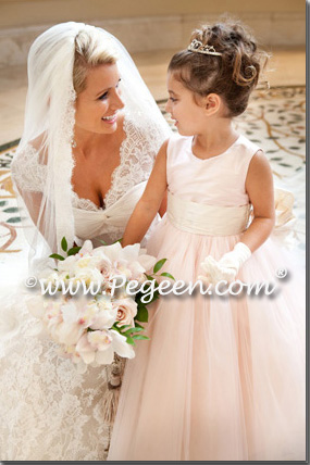 Flower girl dress of The Year - Style 402 in Ballet Pink and Bisque