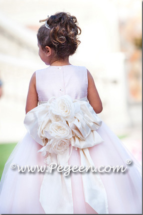 Pegeen's BALLET pink and petal crystal Tulle FLOWER GIRL DRESSES with 10 layers of tulle
