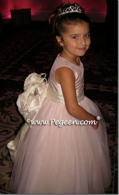Pink silk and tulle flower girl dresses