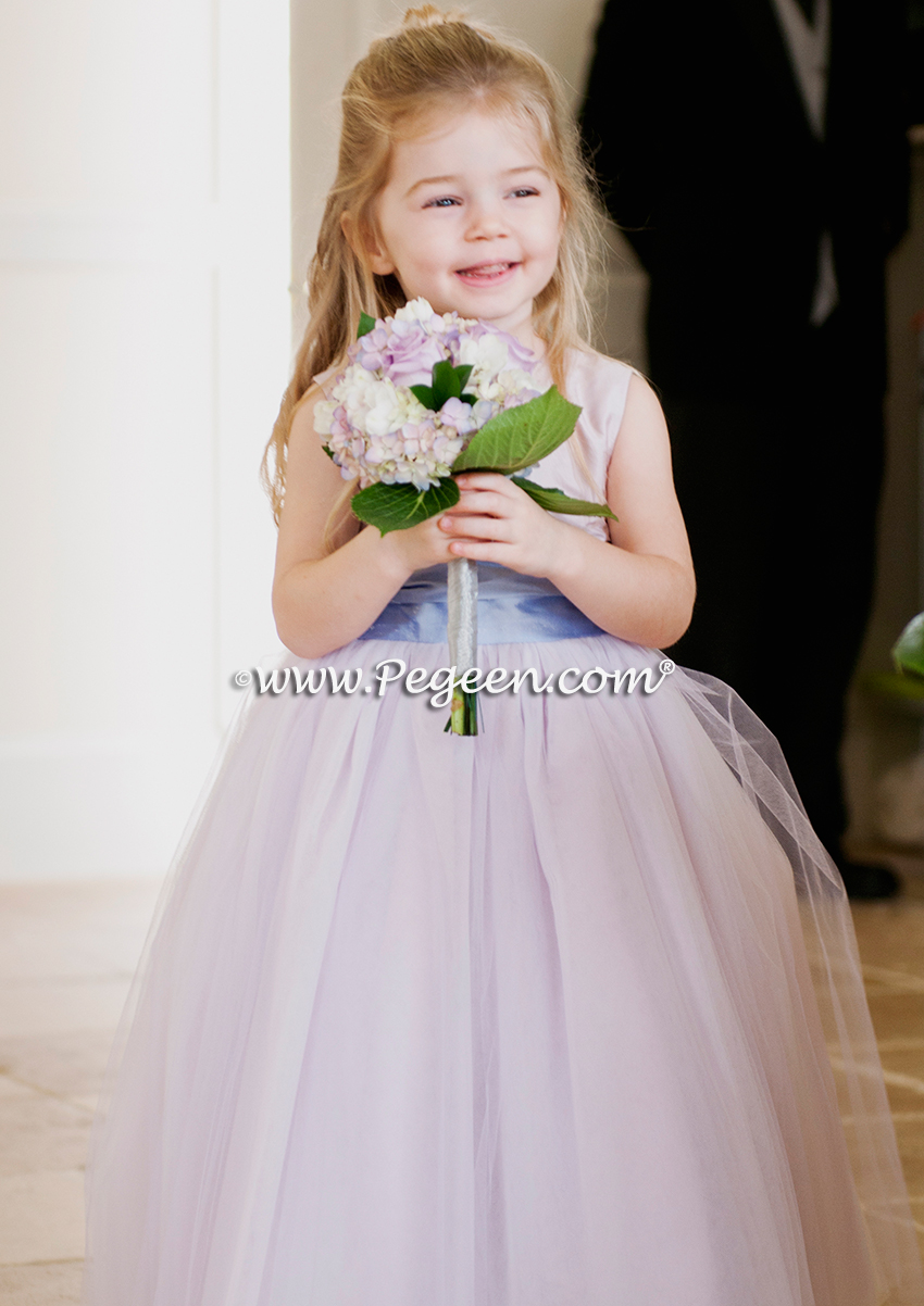 Lavender and Wisteria silk and tulle flower girl dress