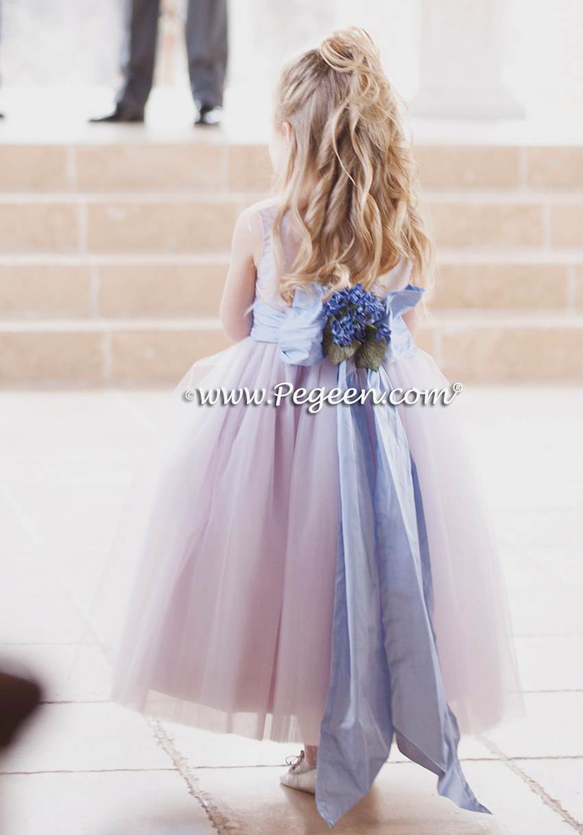 Lavender wedding from Pegeen in silk - flower girl dress Style 402