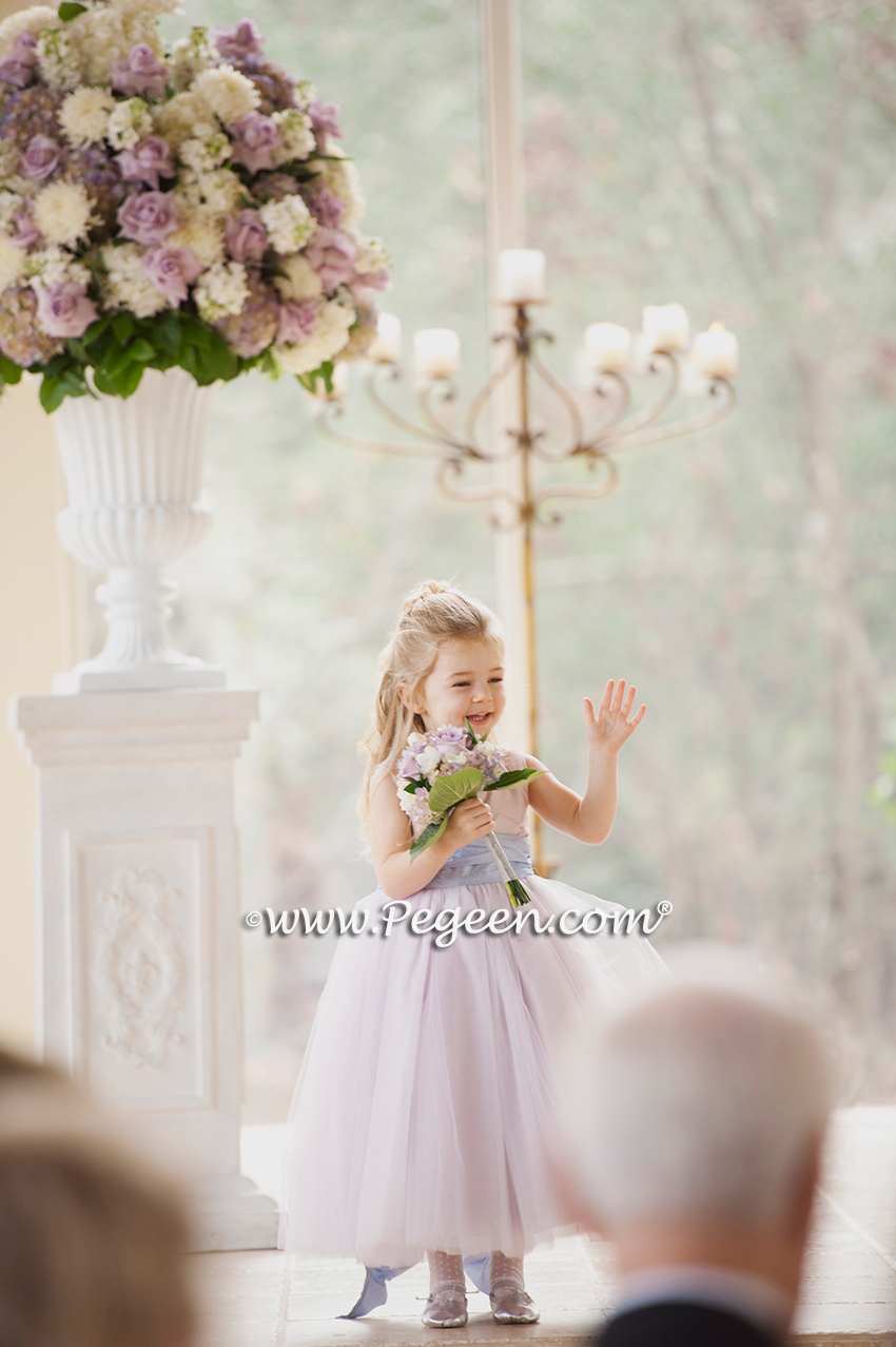 Couture Tulle Flower Girl Dress Style 402 Shown Below In Wisteria and Lavender