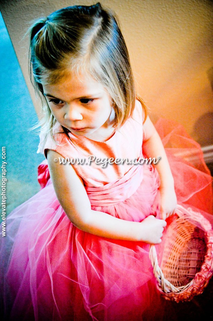 Gumdrop pink and Playtime (coral) flower girl dresses