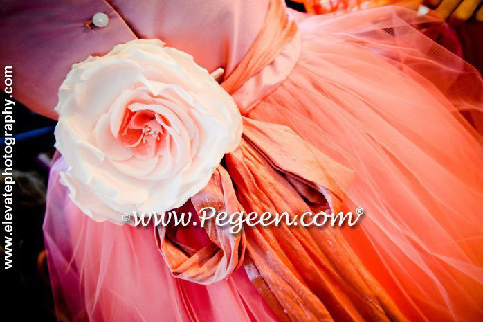 Our 2012 Runner Up Flower Girl Dress Style 402 in Coral Shades of Tulle and Silk